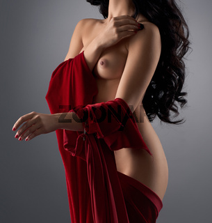 Long haired gorgeous brunette topless in studio