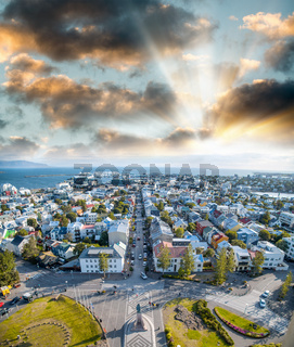 City aerial view from Hallgrimskirkja in Reykjavik, Iceland