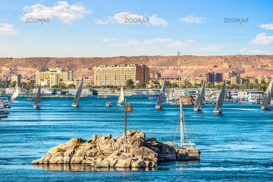 Row of sailboats in Aswan