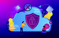 Cloud computing security concept vector illustration.
