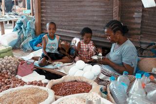 Malagasy marketplace on main street of Maroantsetra, Madagascar