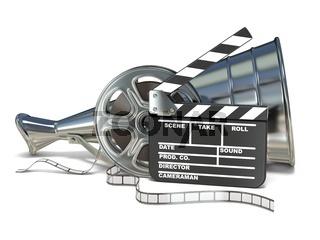 Megaphone, film reels and movie clapper board 3D