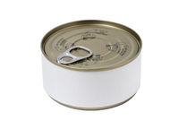 Tin can with blank label and with key on the cap.