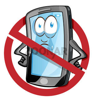 Mobile cell phone in cartoon vector style inside red banned icon. Clip Art Vector illustration