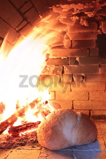 Bread baked in a wood burning oven