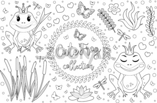 Cute frog princess Coloring book page for kids. Collection of design element with marsh reeds, flowers, plants. Childrens baby clip art funny smiling animals. Vector illustration.