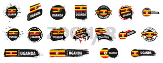 Vector set of flags of Uganda on a white background