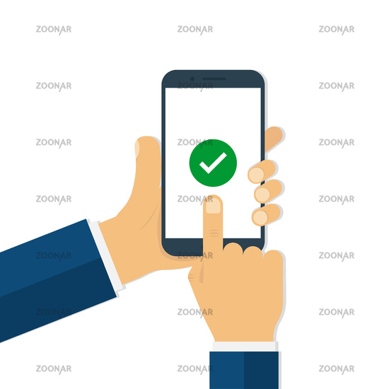 Man hands holding smartphone with check mark on screen. Finger touching smartphone screen in trendy flat style.