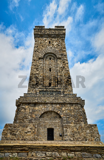 Shipka Monument on Stoletov Peak - Liberation of Bulgaria during the Battles of Shipka Pass in the Russo-Turkish War of 1877-78. The text in Cyrillic is the name of the city Shipka.