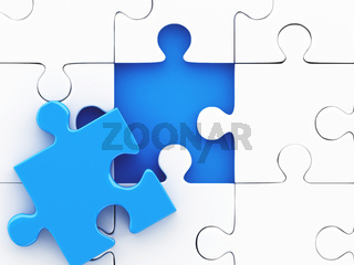 3d Jigsaw Puzzle. Business creativity concept.