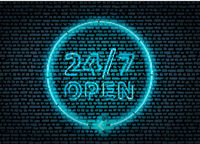 Bright blue neon glowing 24 hours open sign on dark brick wall