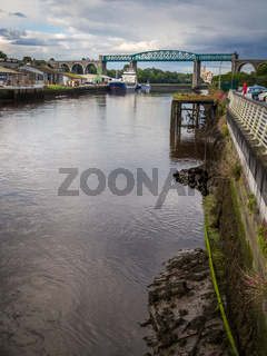 Old town of Drogheda in Ireland with river Boyne