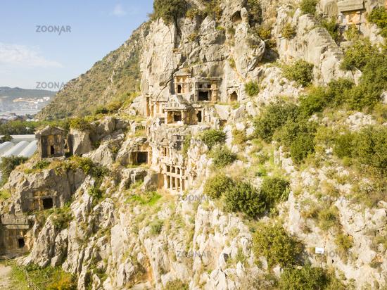 Aerial View Rock-Cut Tomb Cliff Face Myra Turkey