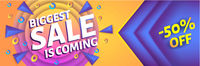 Biggest ssale is coming - horizontal advertising web banner or poster, placard template with colorful abstract elements, vector illustration.