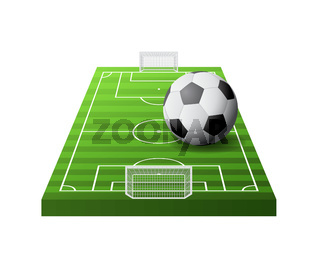 3d soccer field with green grass, goals and white and black ball