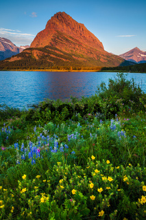 Mount Grinnell at sunrise in the Many Glaciers area of Glacier National Park, Montana