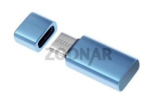 Blue usb-c flash stick