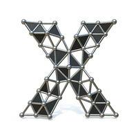 Wire low poly black metal Font Letter X 3D