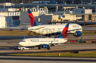 Delta Air Lines Boeing 737-700 airplane Atlanta airport