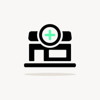 Pharmacy shop. Icon with shadow on a beige background. Medicine vector illustration