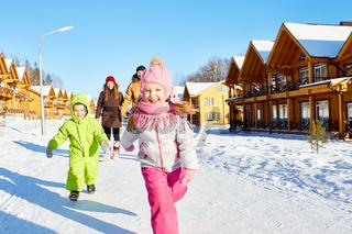 Children enjoying winter walk