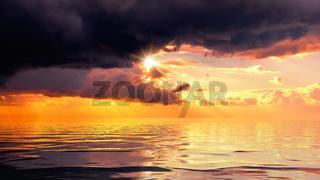 dramatic ocean sunset sky background