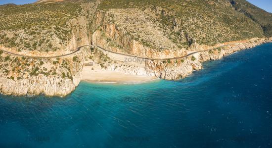 Aerial Drone Panorama Cliffs Beach Kaputas Turkey