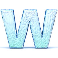 Ice crystal font letter W 3D