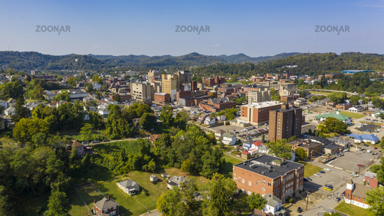 Bright Sun Late Afternoon Aerial Perspective Clarksburg West Virginia