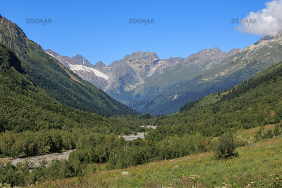 Panorama view of mountains scenes in national park Dombay, Caucasus