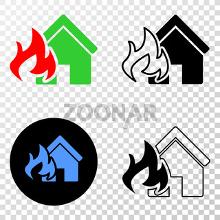House Fire Disaster Vector EPS Icon with Contour Version