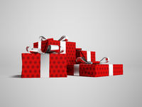 Gifts of four in a red paper label with a bow gray front from the bottom 3d render on a gray background with a shadow