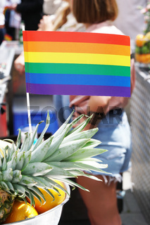 rainbow flag as bar decoration at gay pride event