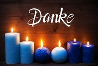 Romantic Turquoise Candle Light , Danke Means Thank You