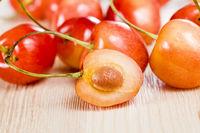 sliced yellow cherries