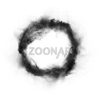 Abstract design of dark powder particles explosion isolated over white background