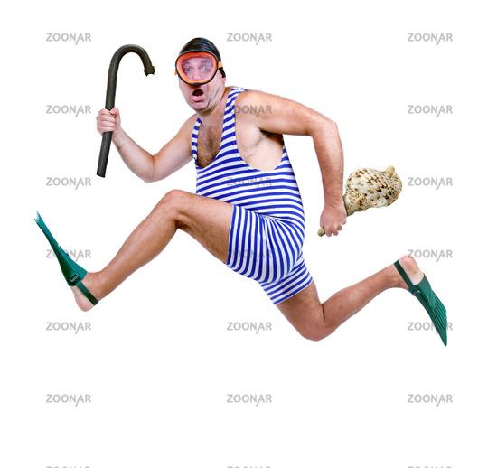 Man in swim dress running isolated on white background
