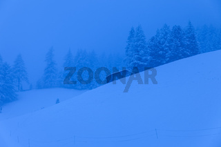 Blue hour in winter in Valle Aurina