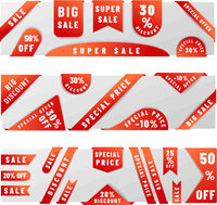 Set of bright red sale badge stickers with shadow