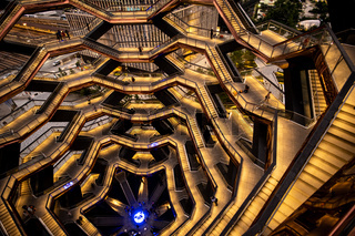 Modern architecture building Vessel spiral staircase is the centerpiece of the Hudson Yards in New York City