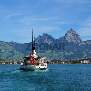 Ship on Lake Lucerne and Mount Grosser Mythen.