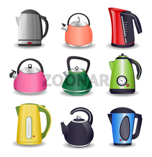 Set of Electric kettle and for stove with boiling water isolated on white background vector illustration