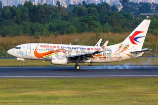 China Eastern Boeing 737-700 airplane Chengdu airport