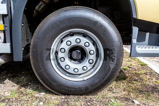 Wheel of new modern Volvo 460 dump truck