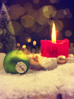 Romantic Christmas background with blurred lights