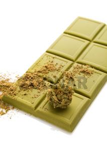 Cannabis bud, chocolate and flour.