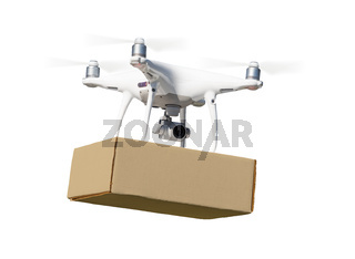 Unmanned Aircraft System (UAS) Quadcopter Drone Carrying Blank Package On White