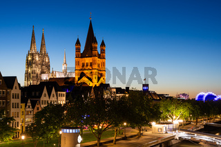 Great Saint Martin Church and Cologne Cathedral at night