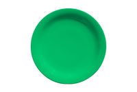 Green ceramic round plate isolated on white background