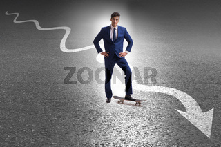 Businessman riding skateboard on financial graph